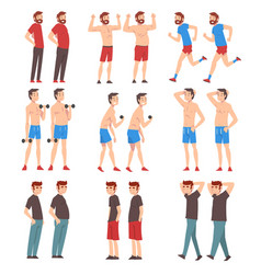 fat and slim men set guys before and after weight vector image