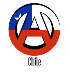 Flag of chile of the world in the form of a sign vector