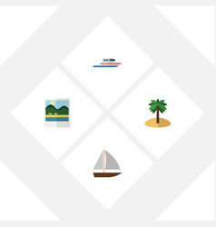 flat beach set of coconut boat yacht and other vector image
