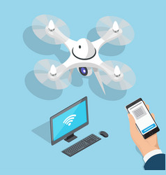 Flying quadcopter computer man hand with phone vector
