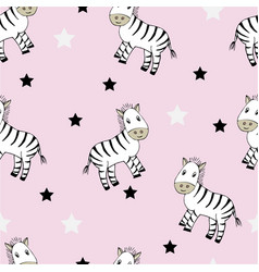 funny seamless childish pattern with cute zebras vector image