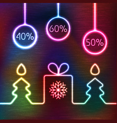 glowing icon gift box christmas fir tree vector image