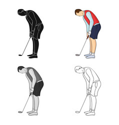 golfer before kick icon in cartoon style isolated vector image