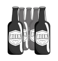 Grayscale brown bottles of beer icon image vector