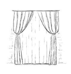 Hand drawn curtains sketch vector