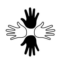 Hands print paint around vector