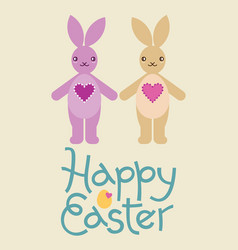 happy easter bunny rabbit character vector image