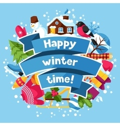 happy winter time background merry vector image
