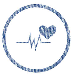 heart pulse signal rounded fabric textured icon vector image
