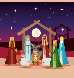 Holy family with wise kings and animals vector