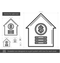 Home for sale line icon vector