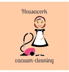 Housekeeper vacuum cleaning vector image