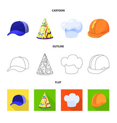isolated object of clothing and cap logo set of vector image