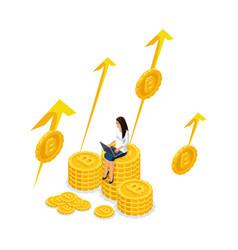 isometry businesswoman on a big pile money bit vector image