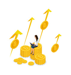 isometry businesswoman on a big pile of money bit vector image