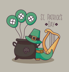 leprechaun cauldron with set icons of st patrick vector image