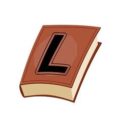 Letter l at vintage books in hardcover vector