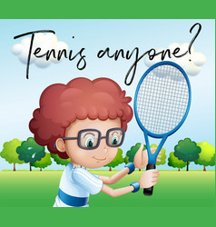 little boy with tennis racket and phrase tennis vector image