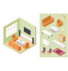 living room isometric home interior and vector image
