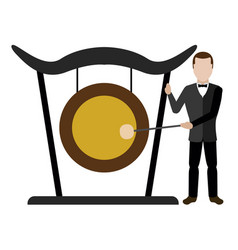 Male avatar playing a gong vector