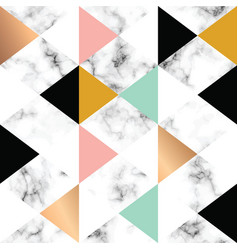 marble texture design with golden geometric vector image