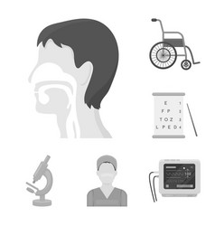Medicine and treatment monochrome icons in set vector