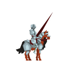 Medieval knight sitting on horse and holding lance vector