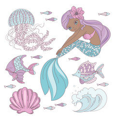 mermaid look princess sea animal vector image