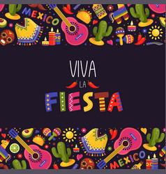 mexican fiesta background traditional decoration vector image