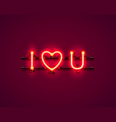 neon text i love you signboard vector image