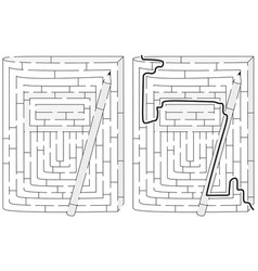 Notebook and pencil maze vector