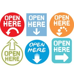 Open Here Sign Icon Set vector