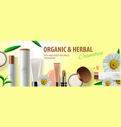 organic cosmetic products with herbal ingredients vector image