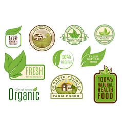 Organic vegan logo labels healthy food eco vector