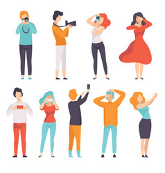 People photographing set young men and women vector