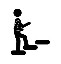 Person up stairs icon vector