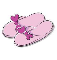 Pink ladies slippers with purple bow on white vector