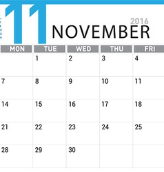 Planning calendar November 2016 vector