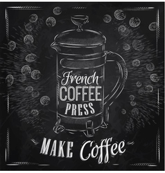 Poster French coffee press chalk vector image