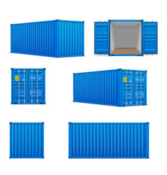realistic set of bright blue cargo containers vector image