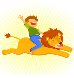 riding a lion vector image