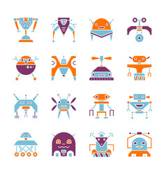 robot household machine flat style color icon set vector image