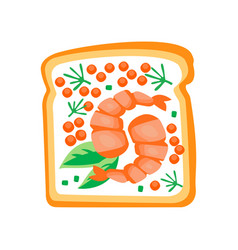 Sandwich with shrimps red caviar and leaves of vector