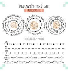 Seamless pattern hand drawn brushes vector image