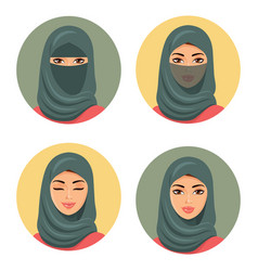 set four arab girls avatars in different tradition vector image