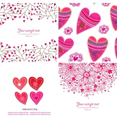 set four happy valentines day backgrounds vector image