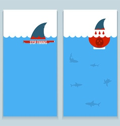 Set of banners about save sharks and undersea vector