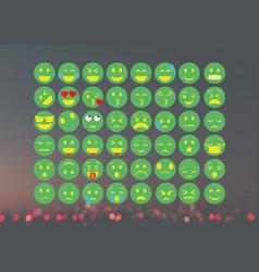 Set of green emojies vector