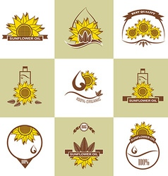 Set of sunflower oil emblems labels logos vector image