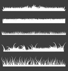 set white grass silhouettes vector image